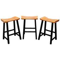 Hand Carved Solid Cherry Bar Stools with Blackened Base by Dave Lasker