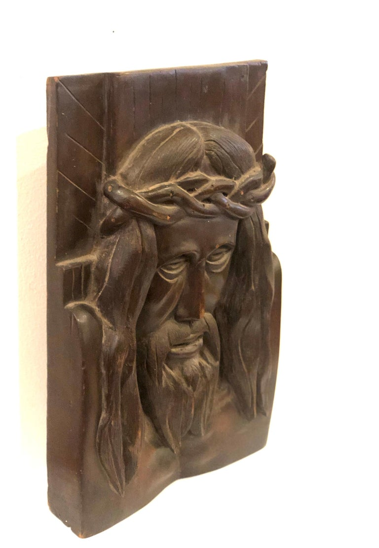 American Hand Carved Solid Wood Jesus Christ Face Wall Relief Plaque Sculpture For Sale