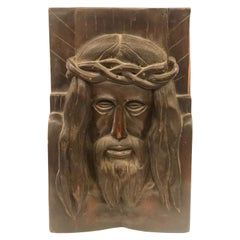 Hand Carved Solid Wood Jesus Christ Face Wall Relief Plaque Sculpture