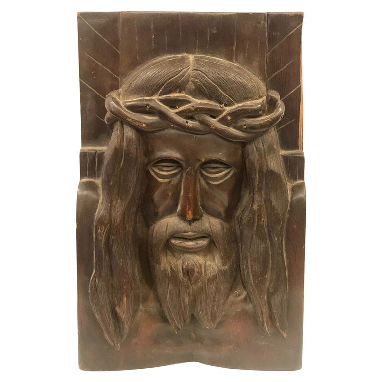 Hand Carved Solid Wood Jesus Christ Face Wall Relief Plaque Sculpture For Sale