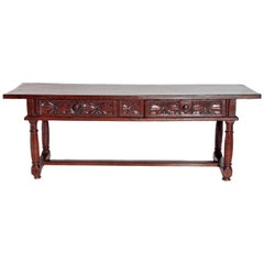 Hand Carved Spanish Walnut Table