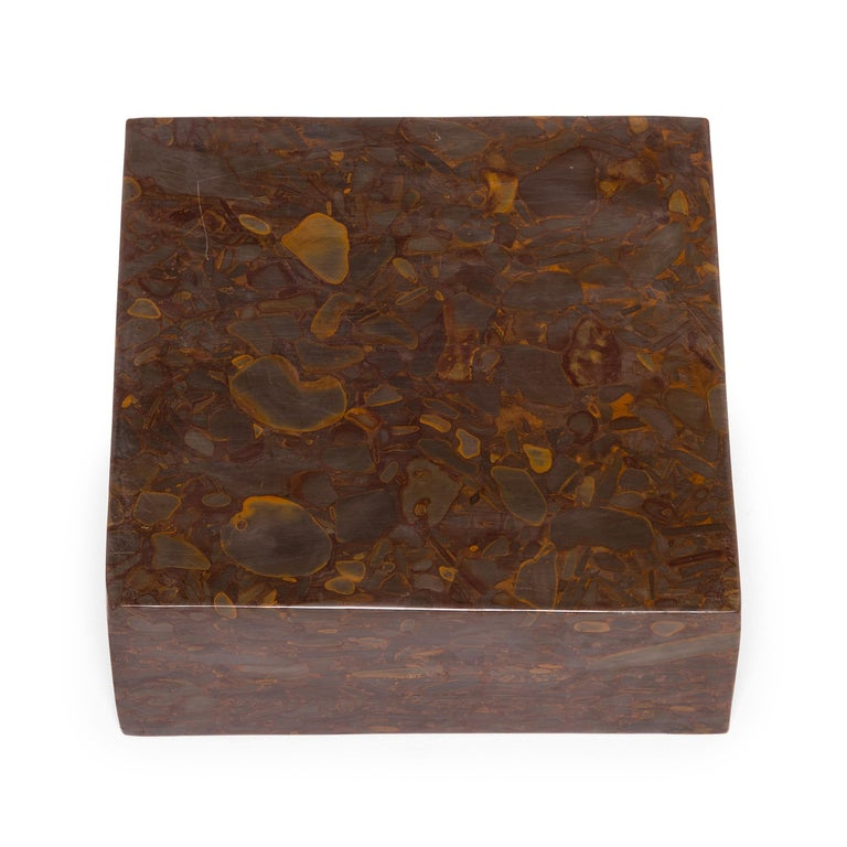 Hand-Carved Hand Carved Squared Puddingstone Basin For Sale
