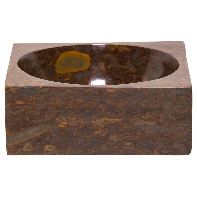 Hand Carved Squared Puddingstone Basin For Sale