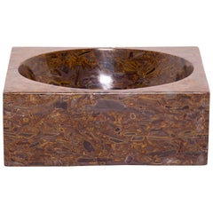 Hand-Carved Squared Stone Basin