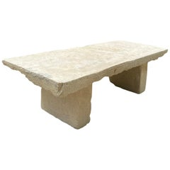 Hand Carved Stone Antique Garden Coffee Farm Outdoor Indoor Table Bench