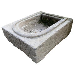 Hand Carved Stone Container Niche Decorative Object Planter Sink Basin antiques