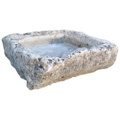 Hand Carved Stone Container Tub Sink Planter Trough Planter Farm Antique Melrose