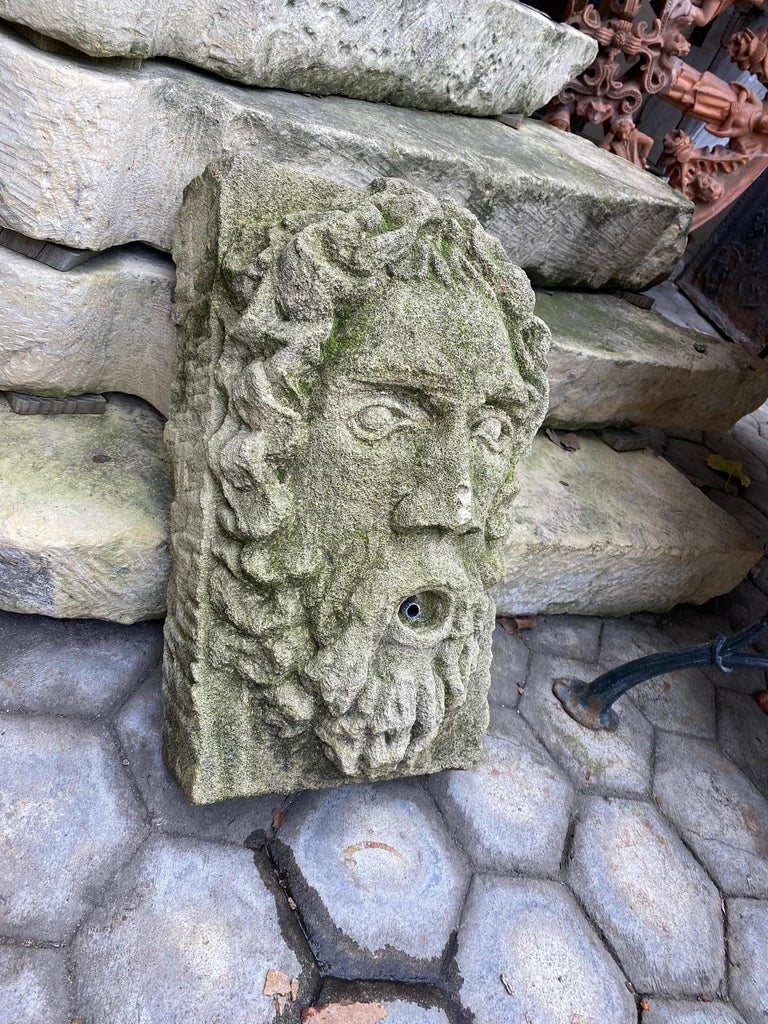 Hand Carved Stone Fountain Head Wall Mount Sculpture Spout Water Feature Antique For Sale 4