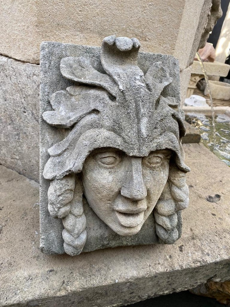 A beautiful sculpture hand carved fountain head of an Indian female warrior figure. It could be installed with a simple water spout or as is. You can pair it with a stone trough basin to create a charming garden water fountain feature we have many