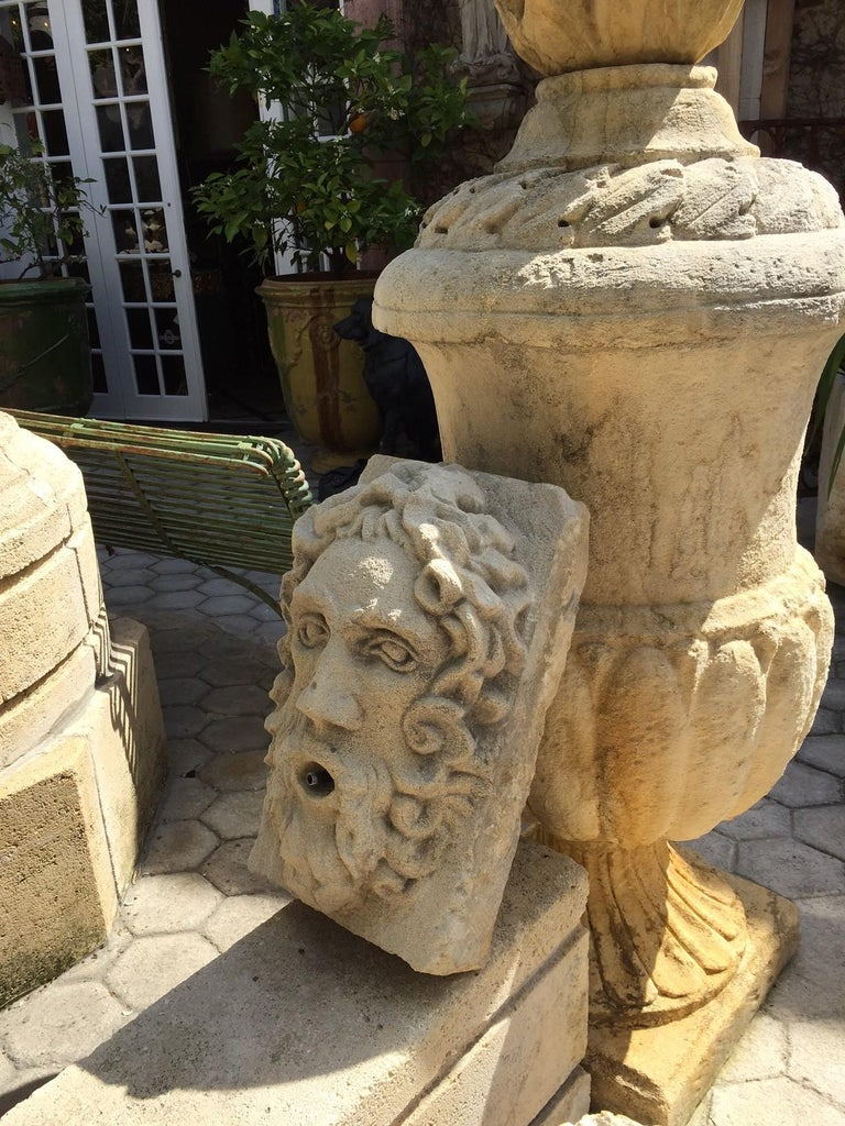 French Hand Carved Stone Fountain Head Wall Mount Sculpture Spout Water Feature Antique For Sale
