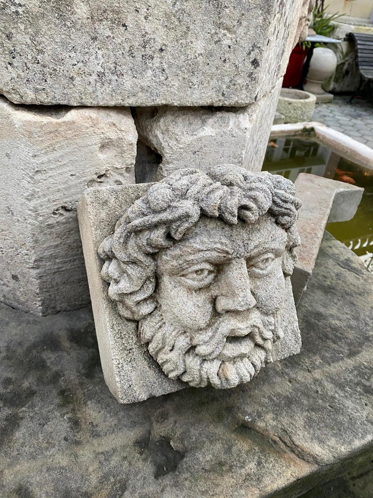 Hand Carved Stone Fountain Head Wall Mount Sculpture Spout Water Feature Antique In Good Condition For Sale In West Hollywood, CA