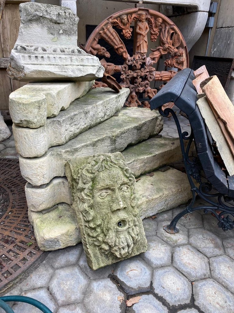 20th Century Hand Carved Stone Fountain Head Wall Mount Sculpture Spout Water Feature Antique For Sale