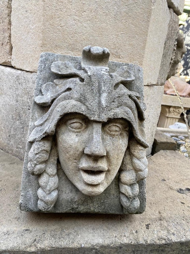 Hand Carved Stone Fountain Head Wall Mount Sculpture Spout Water Feature Antique For Sale 1