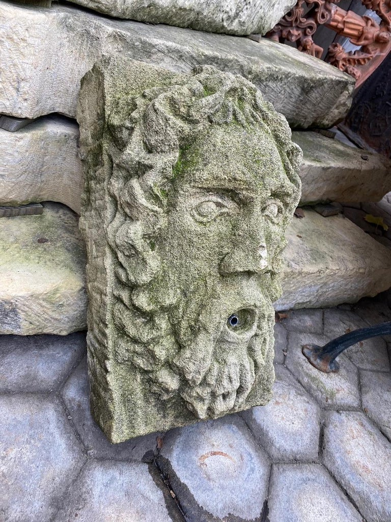 Hand Carved Stone Fountain Head Wall Mount Sculpture Spout Water Feature Antique For Sale 2