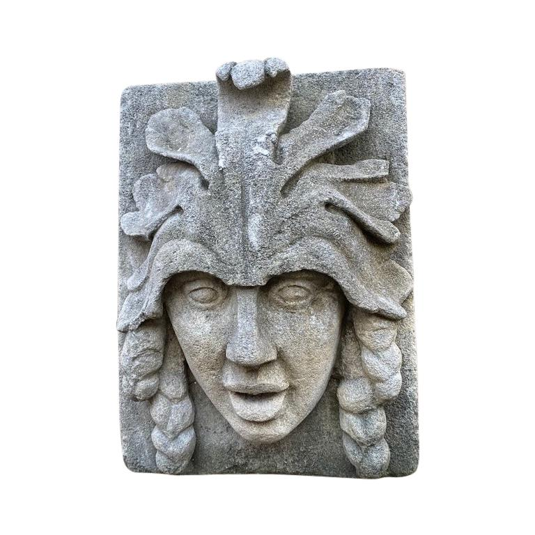 Hand Carved Stone Fountain Head Wall Mount Sculpture Spout Water Feature Antique For Sale