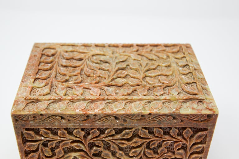 Hand-Carved Stone Jewelry Box Rajasthan, India For Sale 2
