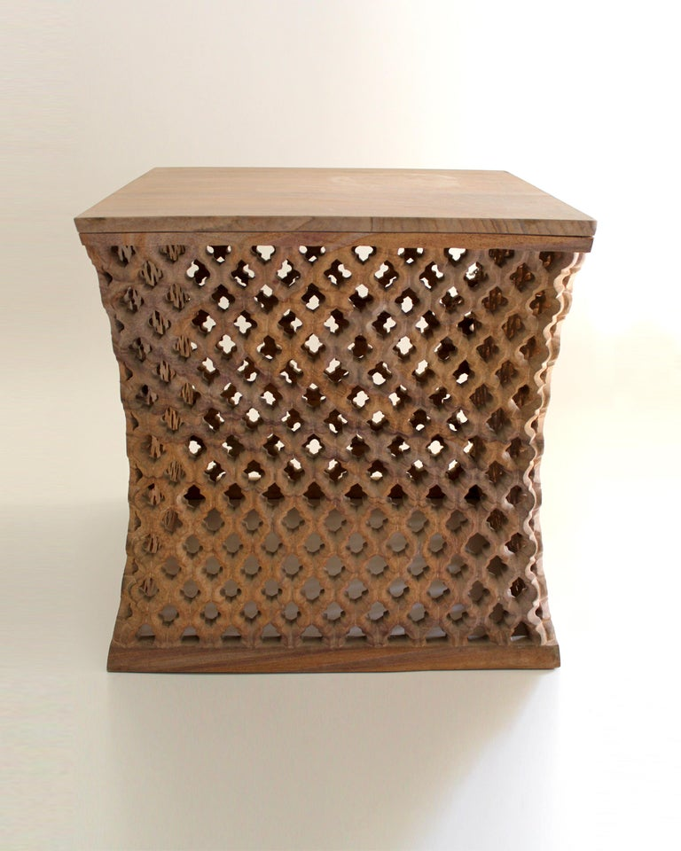 Hand-Carved Jour Jali Square Table by Paul Mathiew for Stephanie Odegard For Sale