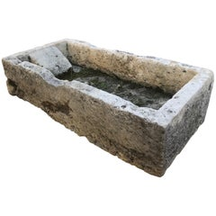 Hand Carved Stone Trough Fountain Basin Planter Container sink antique fire pit