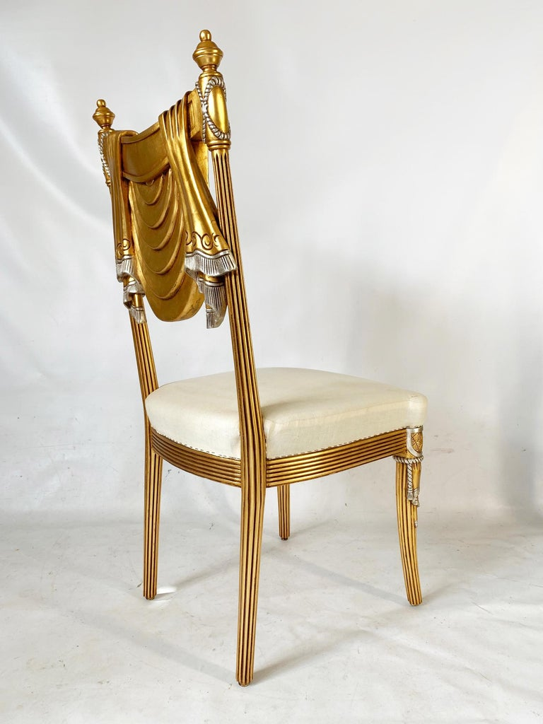 Hollywood Regency Hand Carved Swag Back Dining Chairs For Sale