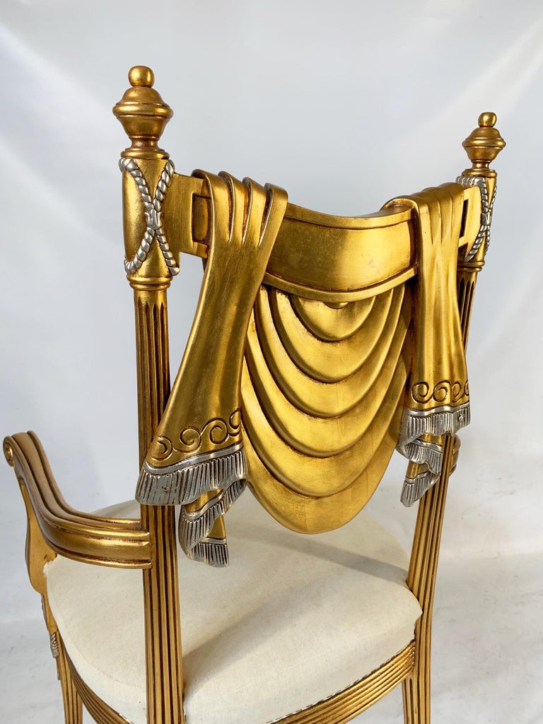 Hand-Carved Hand Carved Swag Back Dining Chairs For Sale