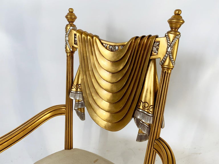 Contemporary Hand Carved Swag Back Dining Chairs For Sale