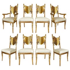 Hand Carved Swag Back Dining Chairs