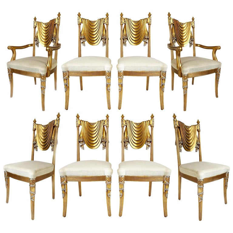 Hand Carved Swag Back Dining Chairs For Sale