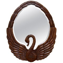 Hand Carved Swan Wall Mirror