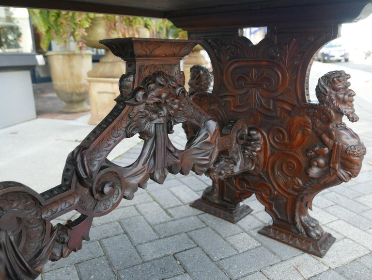 Renaissance Revival Hand-Carved Table by Master Sculptor Valentino Panciera Besarel For Sale