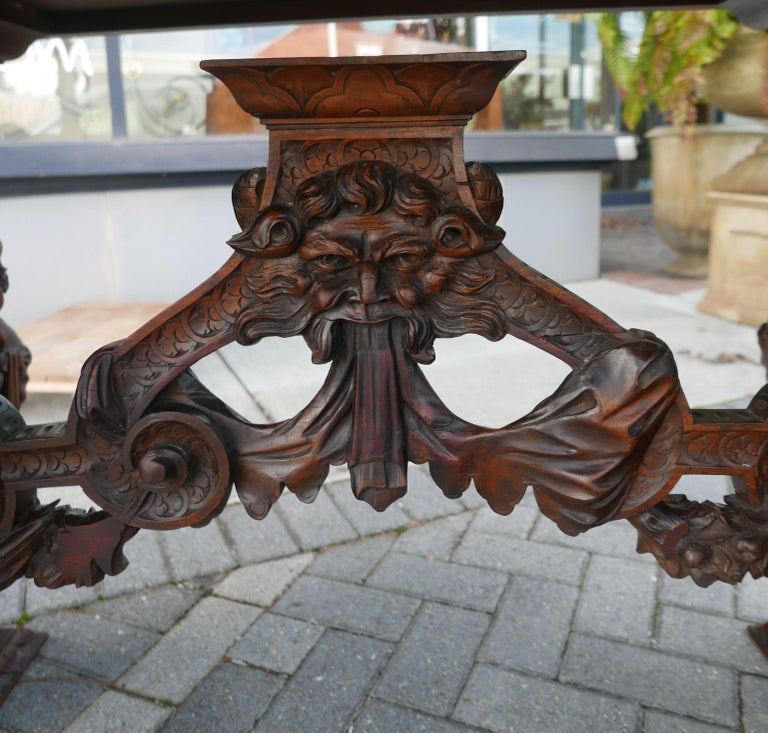 Italian Hand-Carved Table by Master Sculptor Valentino Panciera Besarel For Sale