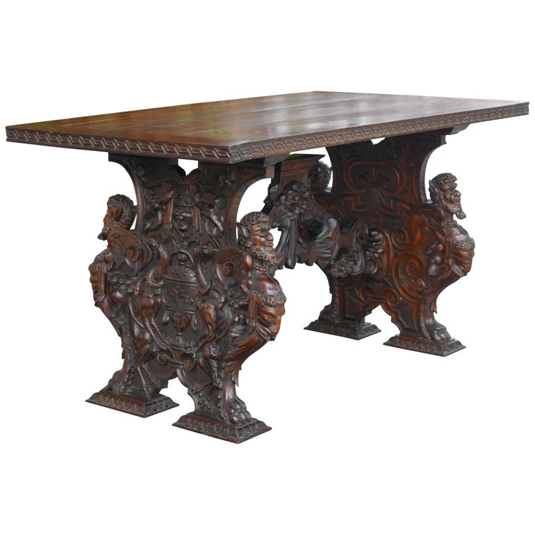 Hand-Carved Table by Master Sculptor Valentino Panciera Besarel For Sale