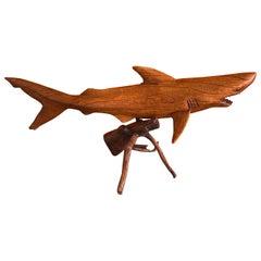 Hand Carved Teak Shark Sculpture on Stand