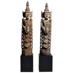 Hand-Carved Teak Wood Blessing Angels