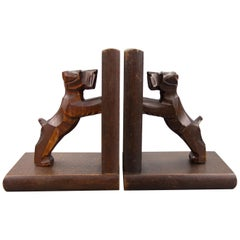 Hand Carved Terrier Wooden Bookends by Dörsch Oberweid, Germany