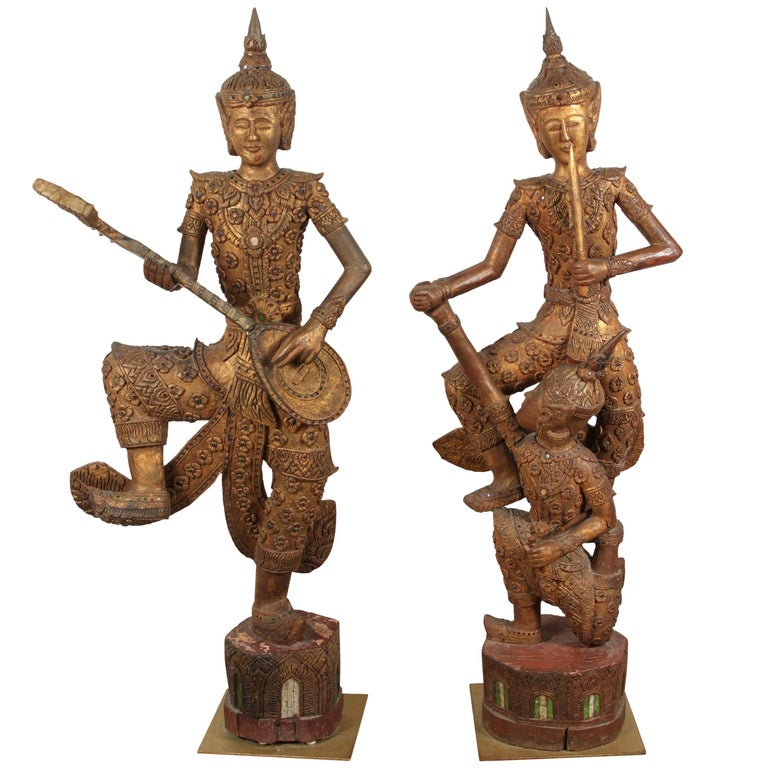 Hand-Carved Thai Temple Gilded Sculptures For Sale
