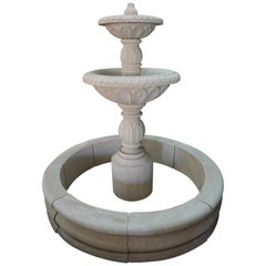 Hand Carved Tiered Central Fountain