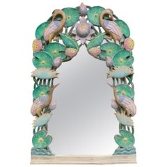 Hand Carved Tropical Bird Mirror