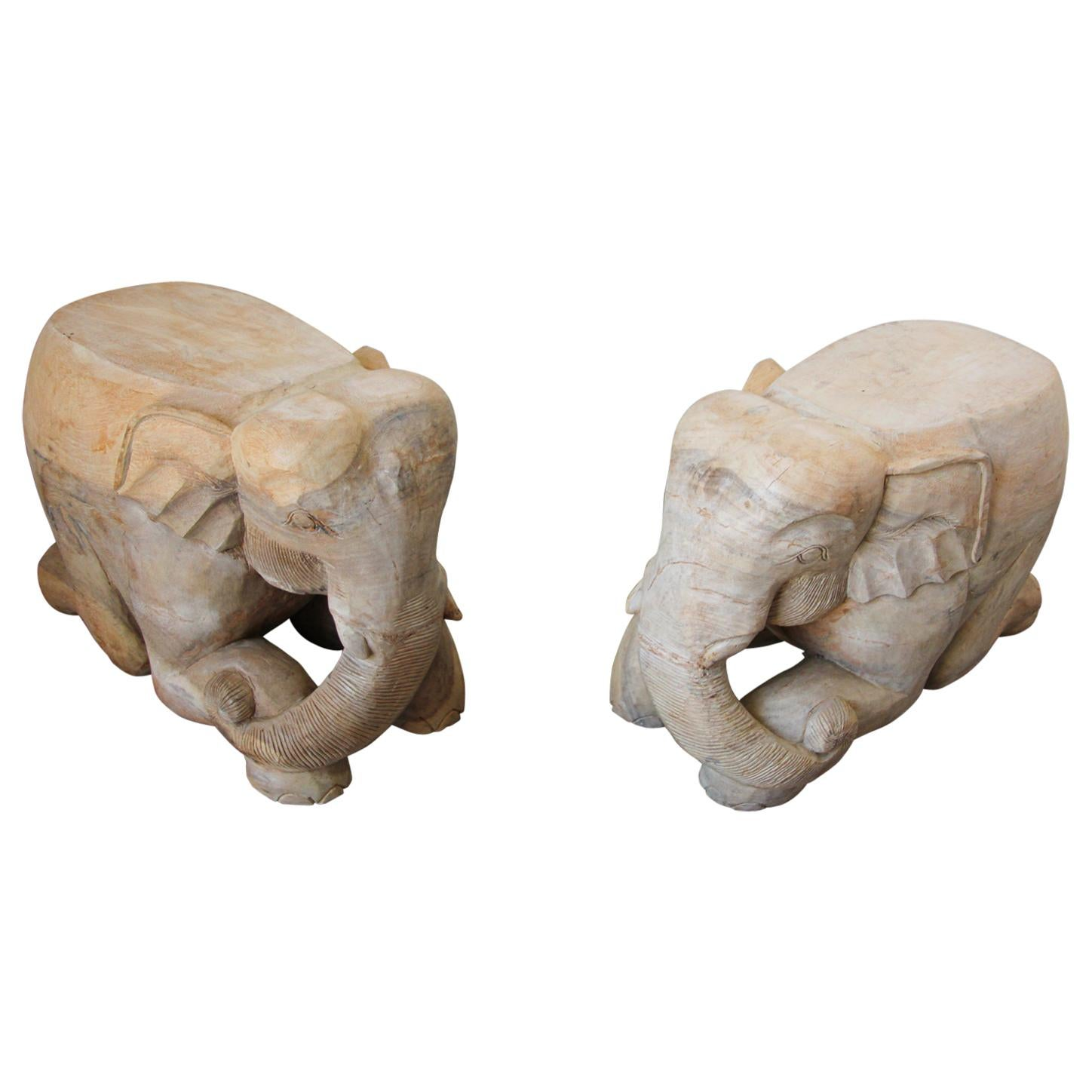 Hand-Carved Vintage Asian Elephant Wooden Side Table Stools