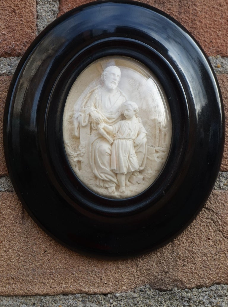 Hand Carved Wall Plaques with Sepiolite Sculptures of Mary Jesus and Joseph For Sale 7