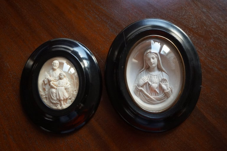 Hand Carved Wall Plaques with Sepiolite Sculptures of Mary Jesus and Joseph For Sale 8