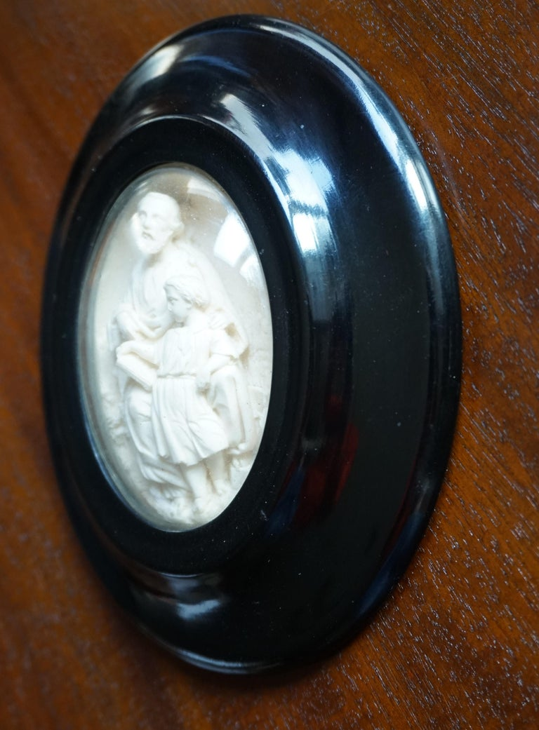 19th Century Hand Carved Wall Plaques with Sepiolite Sculptures of Mary Jesus and Joseph For Sale