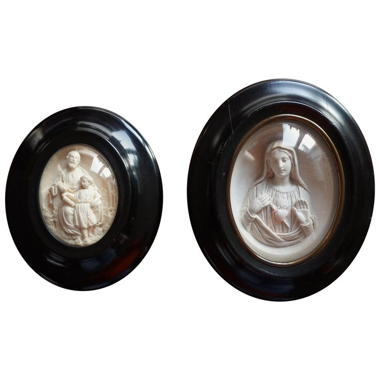 Hand Carved Wall Plaques with Sepiolite Sculptures of Mary Jesus and Joseph For Sale