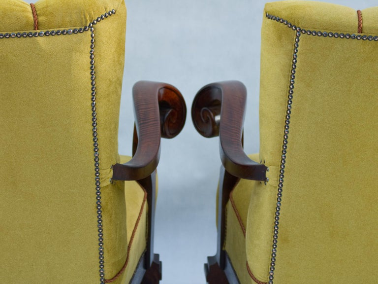Hand Carved Walnut Art Nouveau Armchairs, circa 1920 For Sale 4