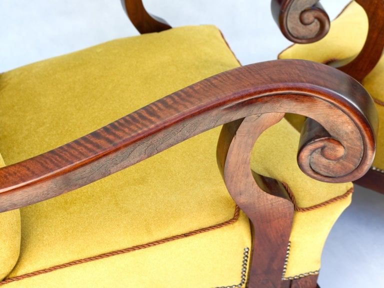 Hand Carved Walnut Art Nouveau Armchairs, circa 1920 For Sale 1