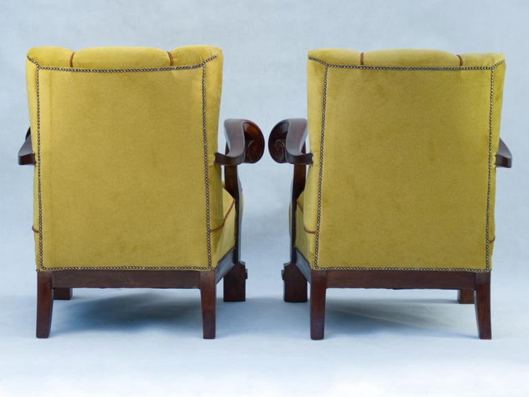 Hand Carved Walnut Art Nouveau Armchairs, circa 1920 For Sale 3
