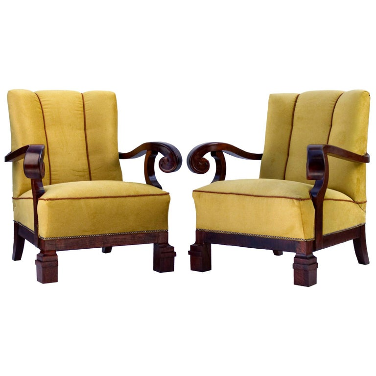 Hand Carved Walnut Art Nouveau Armchairs, circa 1920 For Sale