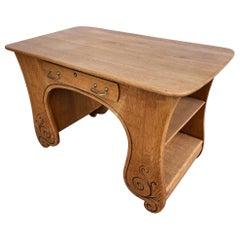 Hand Carved Walnut Art Nouveau Writing Desk with Side Shelfs
