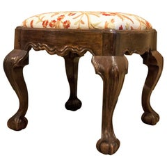 Hand-Carved Walnut Ball-and-Claw Stool, Portugal, circa 1800