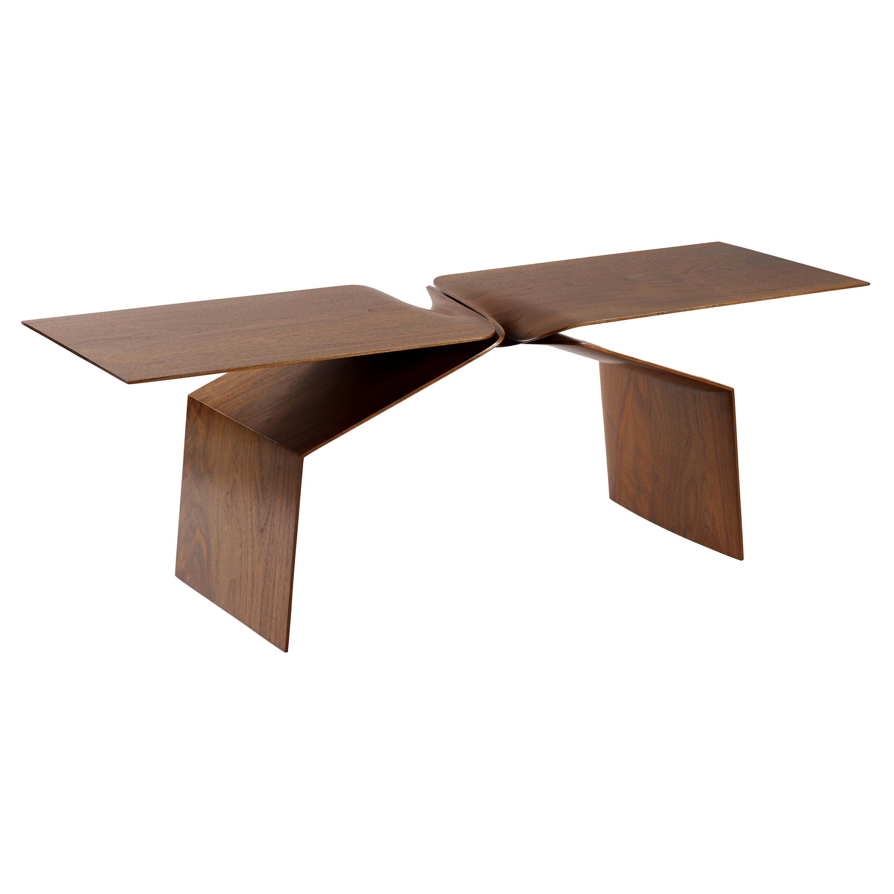 Hand Carved Walnut 'Sculptural Twist' Coffee Table
