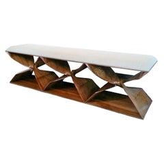 Hand Carved Walnut 'Sculptural Twist' Three-Seat Bench